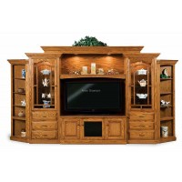Hoosier Heritage 8-Piece Wall Unit with Adjustable Bridge and Side Corner Cabinets FVE 049-HH