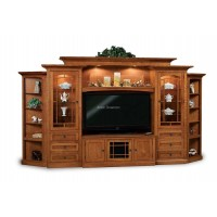 Manhattan Mission 6-Piece Wall Unit with Adjustable Bridge and Side Corner Cabinets FVE-049-MM
