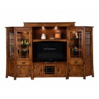 Modesto 6-Piece Wall Unit with Adjustable Bridge and Angled Side Cabinets FVE-051-MD