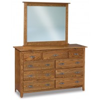 Shaker 9 Drawer Dresser with Arch Drawer 2 Jewelry Drawers ( does not include mirror) JRS 067-1